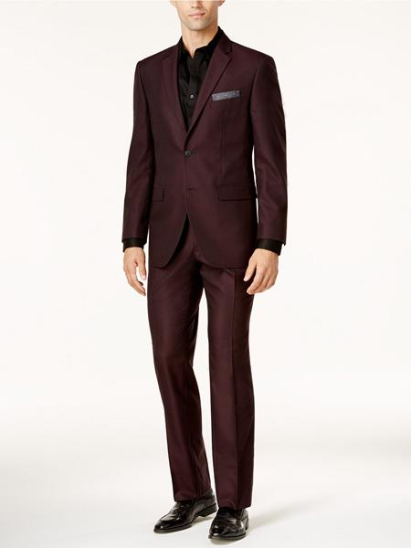 Mens Burgundy Slim Fit Suit, act now only $130.00