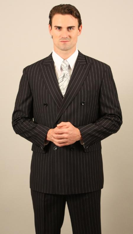 Men's Double Breasted Suit Black with Pinstripe Suit With Side Vent Jacket Pleated Pants