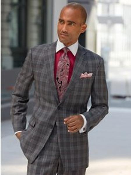 Mens Charcoal Grey ~ Gray Plaid ~ Windowpane Suit Separates Sale, act now only $225.00