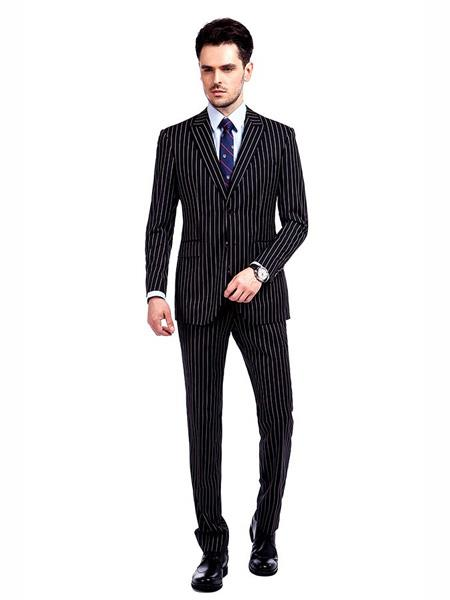 Mens Button Closure Pinstripe Designed Black / White Suit, act now only $250.00