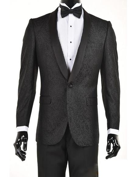 Mens Black Velvet Paisley Suit Jacket Blazer Sport Coat Dinner Jacket, act now only $199.00