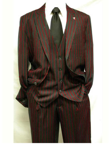 Men's Single Breasted Vest Two Button Notch Lapel Black ~ Dark Red Suit, act now only $165.00