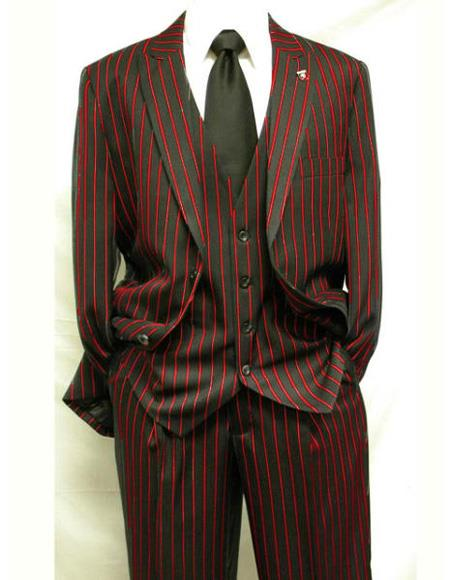 Men's Single Breasted Black ~ Red Two Button Vest Notch Lapel Suit, act now only $165.00