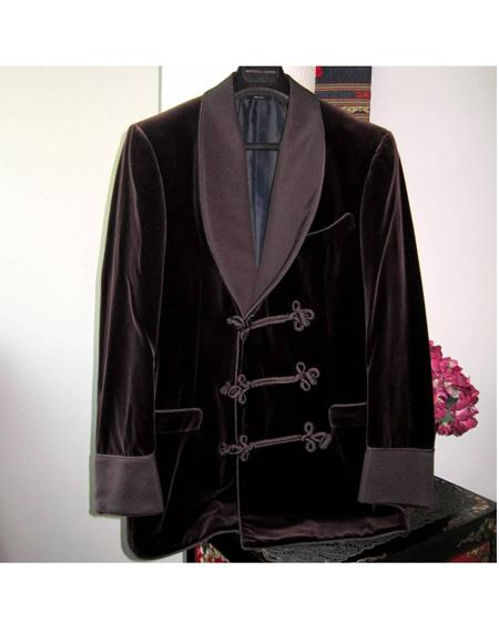 Men's Double Breasted Tuxedo Velvet Flap Front Pockets Burgundy Suit, act now only $1200.00
