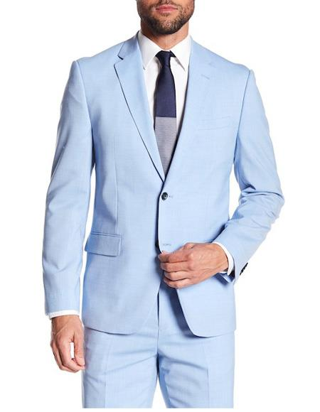 Mens Two Button Closure Single Breasted Pleated Pant Blue Suit, act now only $199.00