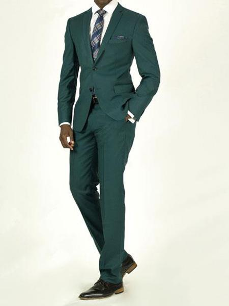 Mens Pick Stitched 2 Button Slim Fit Skinny Teal Green Suit Mens Suit Separate Any Size Jacket & Pants, act now only $239.00