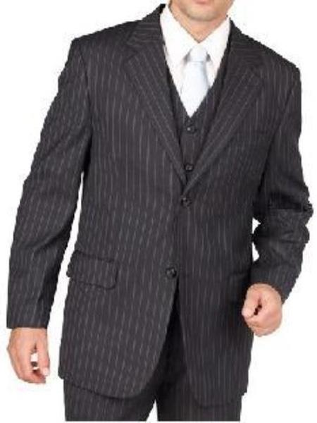 Mens Charcoal Gray Pinstripe 2 Button Vested 3 Piece three piece Suit Separate Any Size Jacket & Pants, act now only $239.00