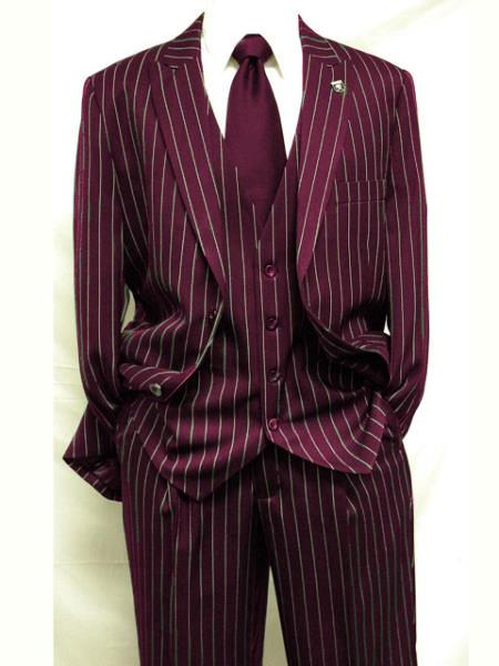 Mens Burgundy ~ White Gangster Bold PinStripe Mars Vested 3 Piece Fashion Suit Pleated pant, act now only $149.00