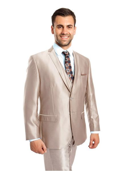 Mens 3 Piece  Single Breasted Two Button Slim Fit Notch Lapel  Champagne Suit, act now only $149.00
