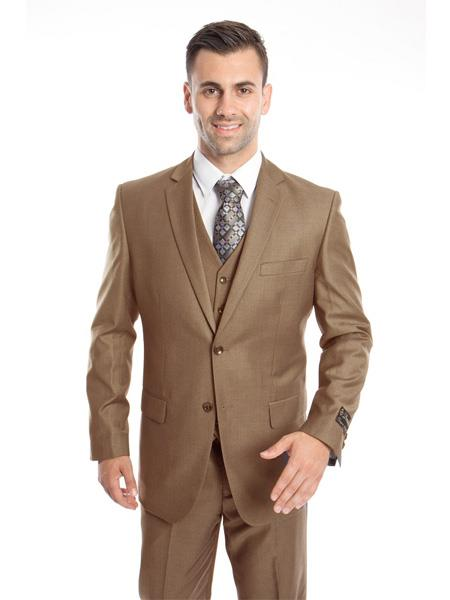 Mens 3 Piece Single Breasted Slim Fit Notch Lapel Taupe Suit, act now only $149.00