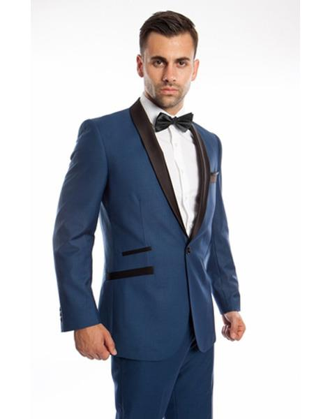 Mens 2 Piece  Single Breasted Prom Suit Slim Fit Shawl Lapel Blue Tuxedo, act now only $149.00
