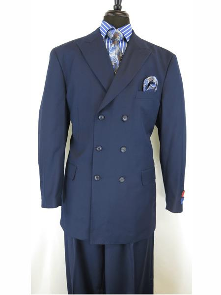 Mens Button Closure Peak Lapel Dark Navy Blue Double Breasted Suit, act now only $165.00