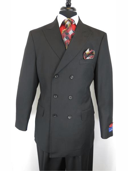 Mens Button Closure Peak Lapel Jet Black Double Breasted Suit, act now only $165.00