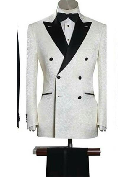 Double Breasted Five Button Peak Lapel Slim White Suit, act now only $199.00