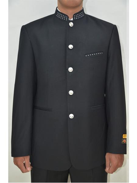 Mens Five Button Mandarin Banded Collar Black Suits, act now only $199.00
