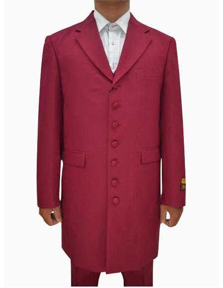 Mens Burgundy Single Breasted Seven Button Zoot Suits, act now only $139.00