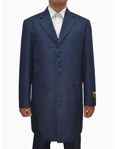 Mens Dark Navy Single Breasted Seven Button Zoot Suits, act now only $139.00