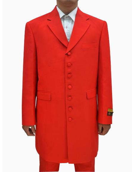 Mens Red Single Breasted Seven Button Zoot Suits, act now only $139.00