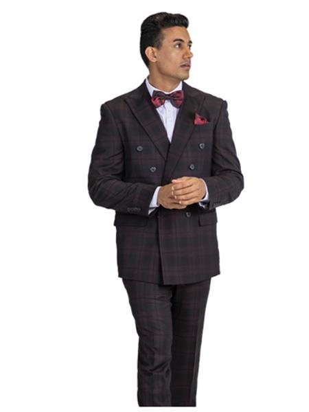 Mens Black & Burgundy Mixed ~ Maroon ~ Wine Window Pane Double breasted Suit, act now only $149.00