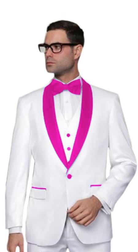 Prom ~ Wedding ~ Groom Attire White And Hot Pink ~ Fuchsia Tuxedo Suit Vest + Pants Jacket, act now only $185.00