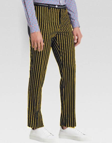 Mens Slacks Black Ganagster Chalk Striped Slim Fit Suit, act now only $89.00