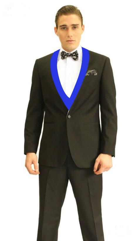 Black and Royal Blue Lapel Vested Tuxedo 3 Piece Suits By Alberto Nardoni, act now only $195.00