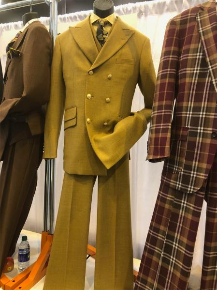 Mens Single Breasted Notch Lapel Yellow Suit, act now only $160.00