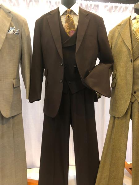Mens Single Breasted Notch Lapel Light Brown Suit, act now only $160.00