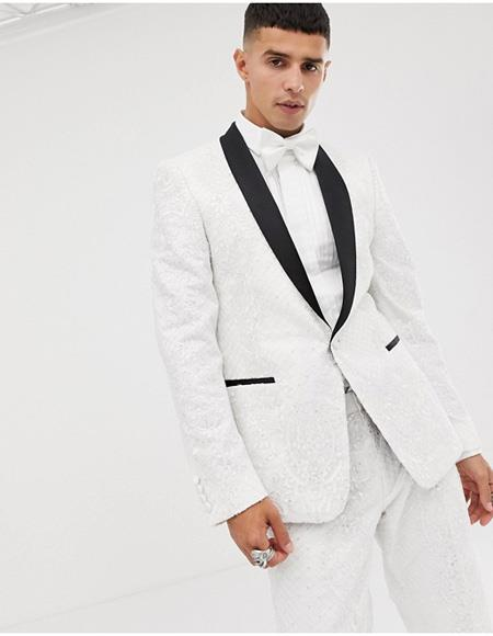 Mens White Tuxedo Single Breasted One Button Suit, act now only $1200.00