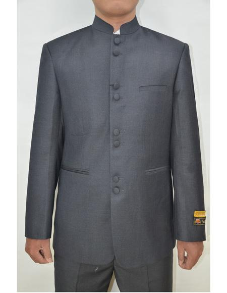 Marriage Groom Wedding Indian Nehru Suit Jacket Mens Blazer Charcoal, act now only $99.00