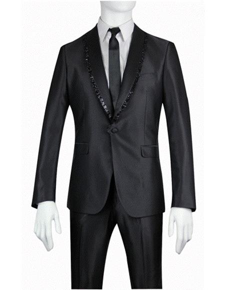 Mens Slim Fit 1 Button Shiny Sharkskin Shawl Suit, act now only $179.00