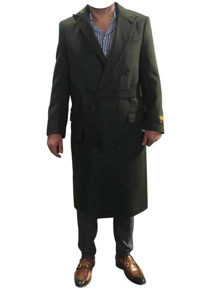 DBCoat Mens Alberto Nardoni Belted Wool Coat Overcoats ~ Topcoat Double Breasted Suit Full Length, act now only $199.00