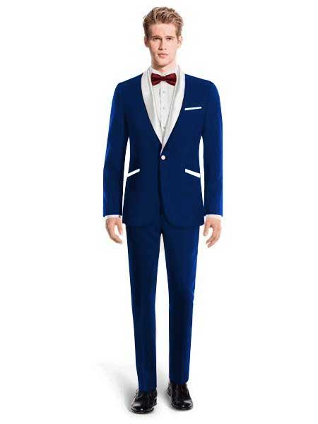 White Lapel Tuxedo Suit Shawl Collar With Vest Wedding / Prom / Stage Dark Navy Blue, act now only $240.00