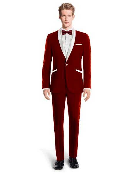 White Lapel Tuxedo Suit Shawl Collar With Vest Wedding / Prom / Stage Maroon, act now only $240.00