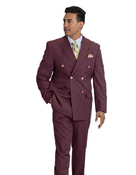 Men's Wool Feel Double Breasted Burgundy Pinstripe Suit, act now only $160.00
