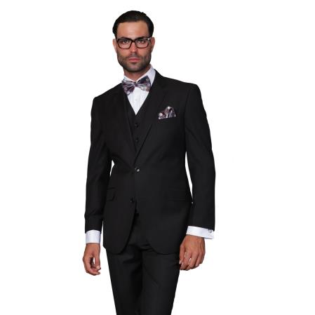 Mens Wool Solid Color 3-piece Suit Black, act now only $199.00
