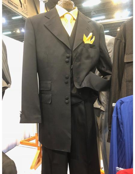 Mens Black Six Button Single Breasted Suit, act now only $1200.00