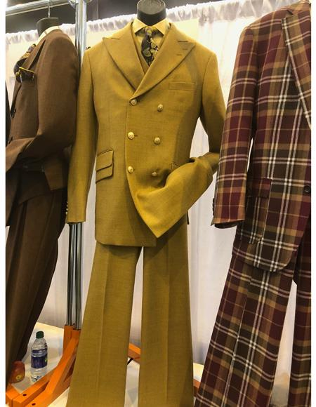 Mens Yellow Six Button Double Breasted Suit, act now only $1200.00
