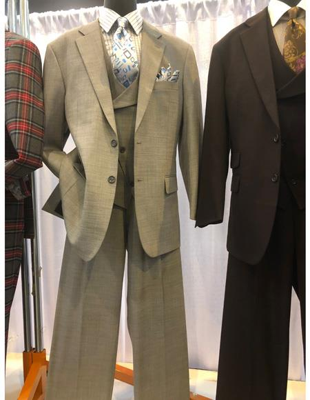 Mens Gray Two Button Single Breasted Suit, act now only $1200.00