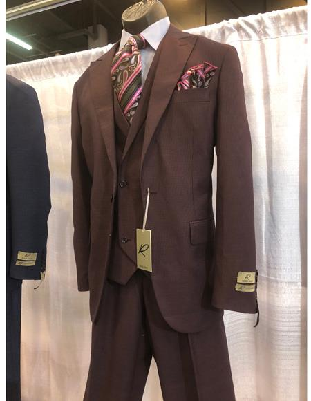 Mens Brown One Button Single Breasted Peak Lapel Suit, act now only $1200.00