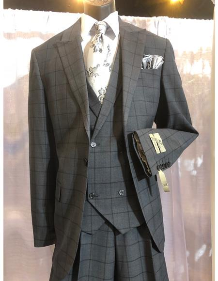 Mens Grey One Button Single Breasted Suit, act now only $1200.00
