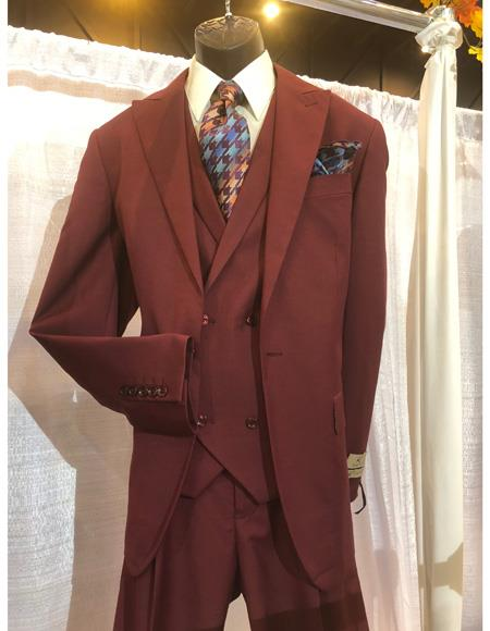 Mens Burgundy Single Breasted Suit, act now only $1200.00