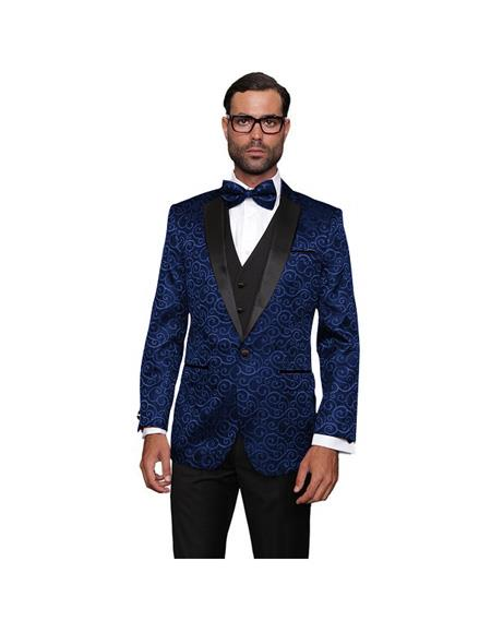 Single Breasted Wool One Button  Dark Navy Suit, act now only $199.00