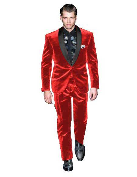 Mens One Button Red Single Breasted Velvet Tuxedo Suit, act now only $199.00