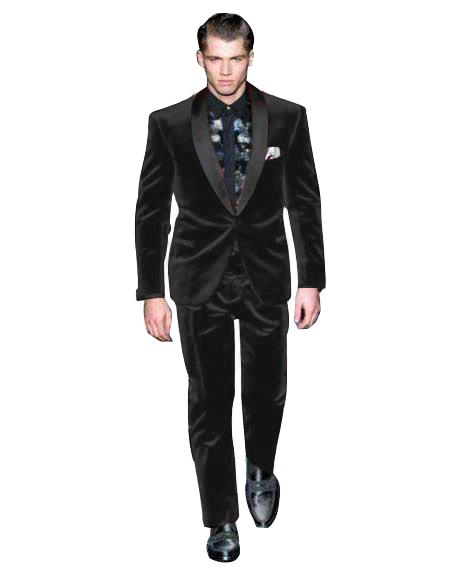 Mens Black One Button Single Breasted Suit Velvet Fabric Shawl Collar Tuxedo, act now only $190.00