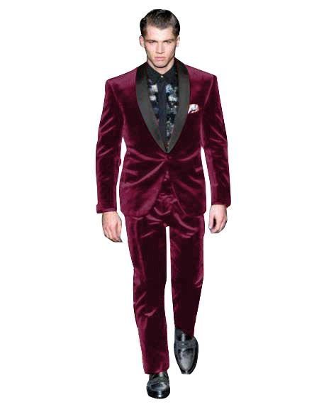 Mens Single Breasted Dark Burgundy Suit One Button Velvet Fabric Shawl Collar Tuxedo, act now only $160.00