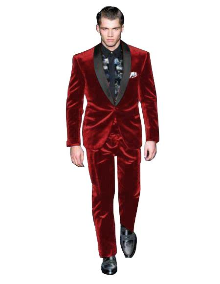 Mens Single Breasted Maroon Suit Shawl Lapel Velvet Fabric Shawl Collar Tuxedo, act now only $199.00