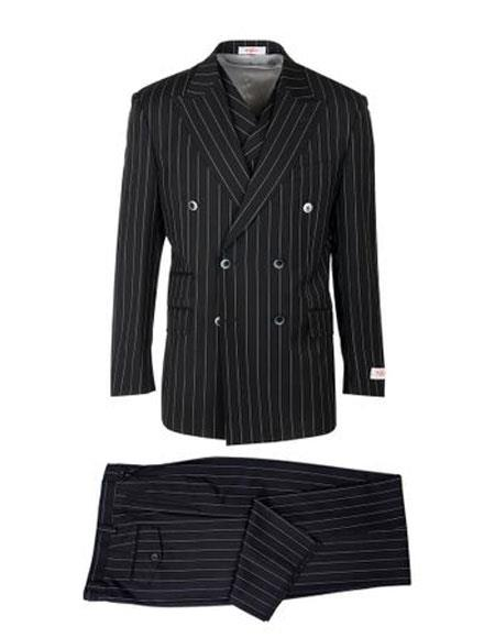Mens Authentic 100% Wool Super 150's  Double Breasted Striped Pattern Black Wool Suit, act now only $285.00