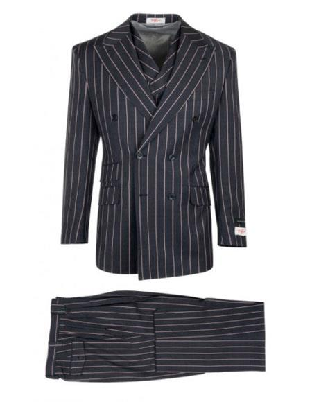 Mens Authentic 100% Wool Super 150's Dark Navy Striped Pattern Double Breasted Two Button Suit, act now only $285.00