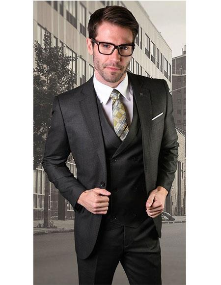 Mens Single Breasted Two Button Notch Lapel Black Suit, act now only $189.00